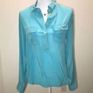 Turquoise Silk Blouse BR Size Small